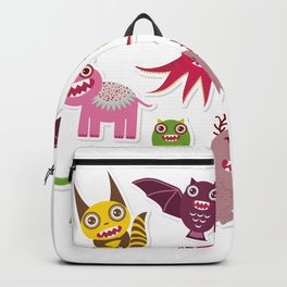 Sticker set Funny monsters collection on white background Backpack