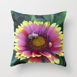 Beautiful red Sunflower with Bee Throw Pillow
