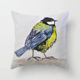 bird on a walk Throw Pillow