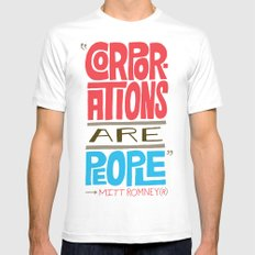 Romney: Corporations Are People White Mens Fitted Tee SMALL