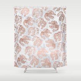 Boho rose gold floral paisley mandala elephants illustration white marble pattern Shower Curtain