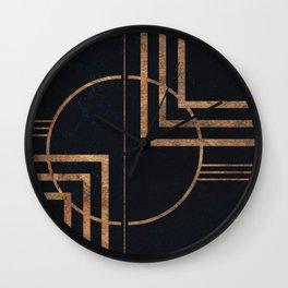 Art Deco Navy And Gold Geometric Print Wall Clock