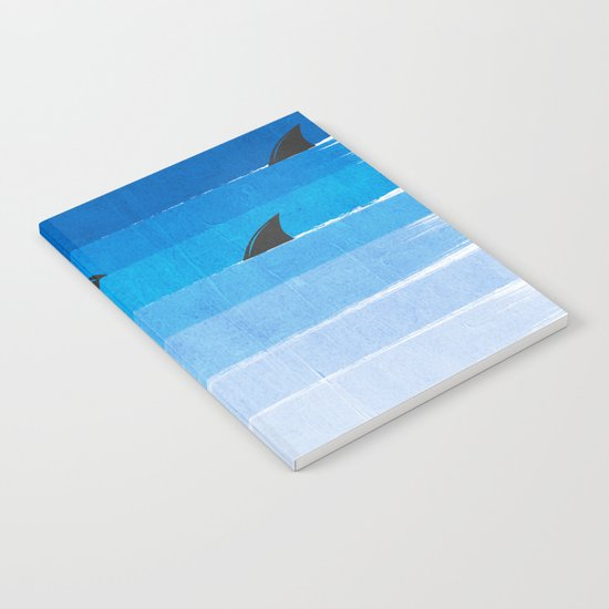 Sharks - shark week trendy black and white minimal kids pattern print ombre blue ocean surfing  Notebook
