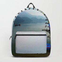 Serenity Prayer With Phewa Lake Panoramic View Backpack