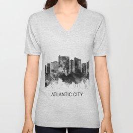 Atlantic City New Jersey Skyline BW Unisex V-Neck