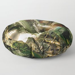 waterfall in the forest Floor Pillow