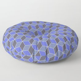 Blue Indigo Isometric Cubes Floor Pillow