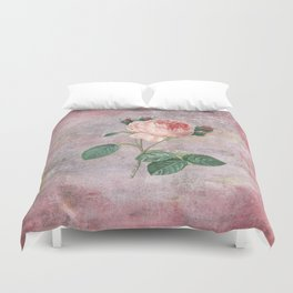 Vintage Rose - on pink grunge background  - Roses and flowers Duvet Cover