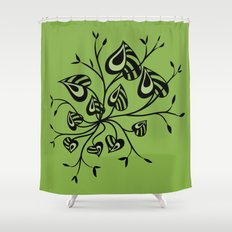 Abstract Floral With Pointy Leaves In Black And Greenery Shower Curtain