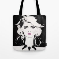 blondie Tote Bags featuring Blondie by Christopher Morris