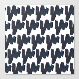 Navy blue black abstract watercolor zigzag brushstrokes pattern Canvas Print