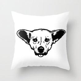 Little Dog Big Ears Throw Pillow