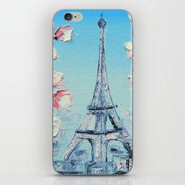 Paris Spring Cherry Blossoms, Eiffel Tower Art by Lisa Elley iPhone Skin