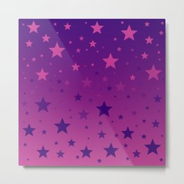 Pink To Purple Ombre Stars Metal Print