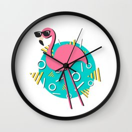 90s Retro Flamingo Wall Clock