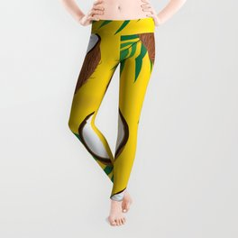 Coconut Pattern on Yellow Background Leggings