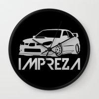 subaru Wall Clocks featuring Subaru Impreza 2006 - silver - by Vehicle
