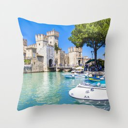 World Popular Fairytale Castle Rocca Scaligera Sirmione Lake Garda Italy Europe Ultra HD Throw Pillow