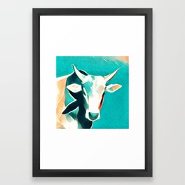 Blue Sky Cow Framed Art Print