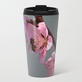 Honey Bee Feeding on Peach Tree Blossom Travel Mug