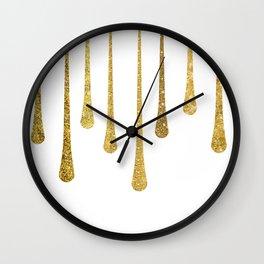 Gold Glitter Paint Drip Wall Clock