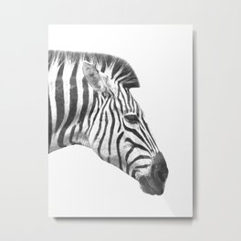 Black and White Zebra Profile Metal Print