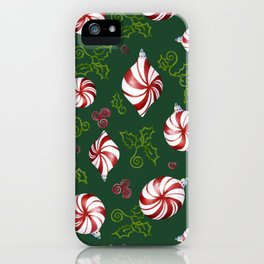 Peppermint Candy Christmas Modern Ornaments with Holly Leaf Swirls iPhone Case