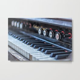 Picture of old vintage piano keys with buttons Metal Print