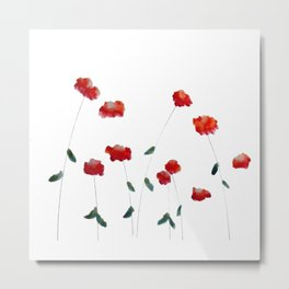 Red flowers in the snow Metal Print