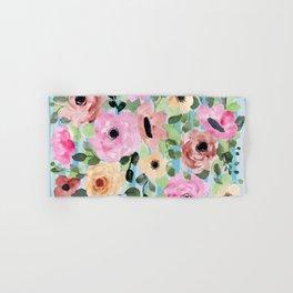 Watercolor Flowers Preppy Pastels Hand & Bath Towel