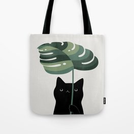Cat and Plant 16 Tote Bag