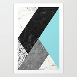 Black and White Marbles and Pantone Island Paradise Color Art Print