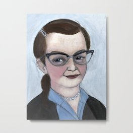 """The Haunting of Shirley"", Shirley Jackson Literary Portrait Metal Print"