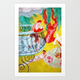 'Love Flight of a Pink Candy Heart' landscape painting by Florine Stettheimer Art Print