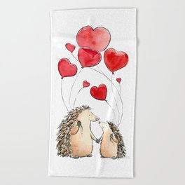 Hedgehogs in Love, illustration of hedgehog sweethearts with balloons. Beach Towel