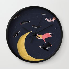 Let'sfly over the moon Wall Clock