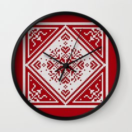 Scandinavian Snowflake Pattern II with red Wall Clock