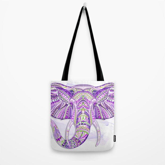 Purple Ethnic Elephant Tote Bag