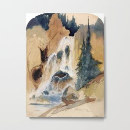 Crystal Falls Watercolour 1871 By Thomas Moran | Abstract Landscape Reproduction Metal Print