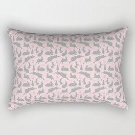 Rabbit Pattern | Rabbit Silhouettes | Bunny Rabbits | Bunnies | Hares | Pink and Grey | Rectangular Pillow