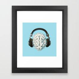 Mind Music Connection /3D render of human brain wearing headphones Framed Art Print