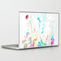 mermaids Laptop & iPad Skins featuring Mermaids  by Julie Lehite