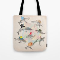 hats Tote Bags featuring Hats On by Matisse Lin