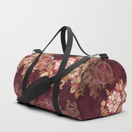 Golden Embroidery Flowers Duffle Bag