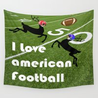 football Wall Tapestries featuring American Football by Cs025