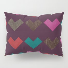 leather geometric love on dark purple Pillow Sham