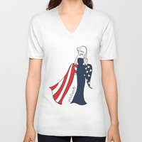 patriotic V-neck T-shirts featuring Patriotic Sophie by philoSophie's