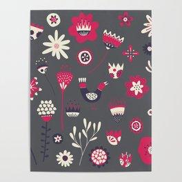 Scandi Floral Dark Poster