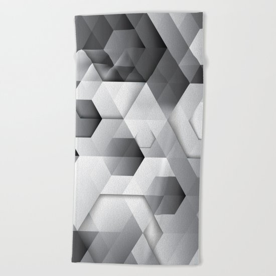 Black geometrics Beach Towel