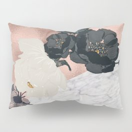 Floral marble rose gold Pillow Sham